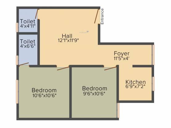 Le Moksha (2BHK+2T (700 sq ft) Apartment 700 sq ft)