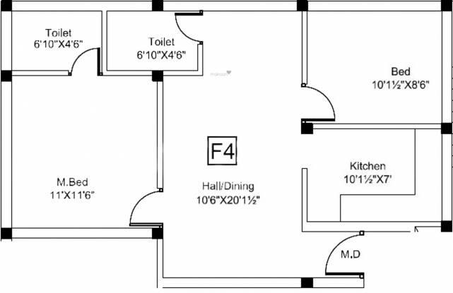 Vishnu Green Park (2BHK+2T (798 sq ft) Apartment 798 sq ft)