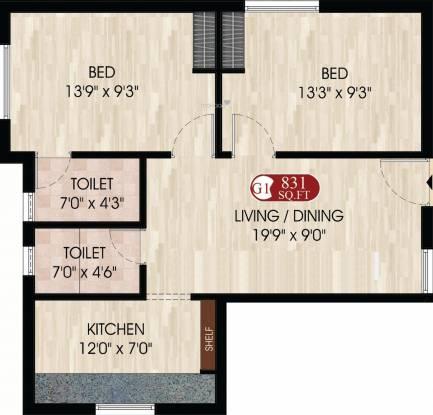 Bhaveshwar Unique (2BHK+2T (831 sq ft) Apartment 831 sq ft)