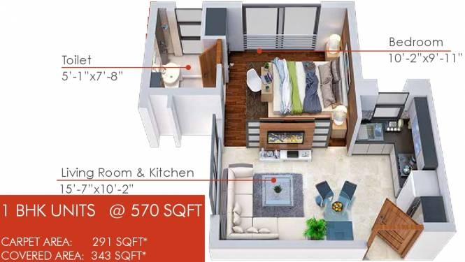 Viridian The Quad Residences (1BHK+1T (570 sq ft) Apartment 570 sq ft)