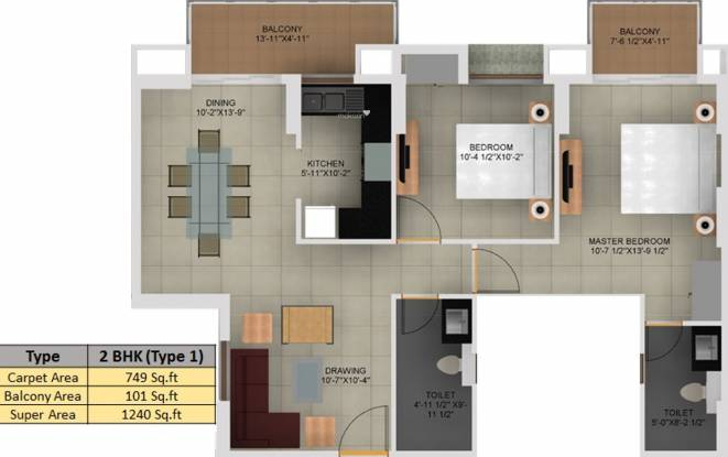 Paarth Aryavart Empire (2BHK+2T (1,240 sq ft) Apartment 1240 sq ft)