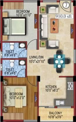 JS Carnation (2BHK+2T (910 sq ft) Apartment 910 sq ft)