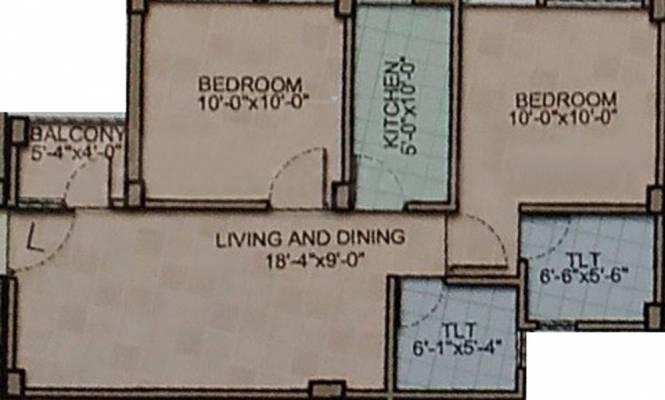 Rohra Galaxy (2BHK+2T (820 sq ft) Apartment 820 sq ft)