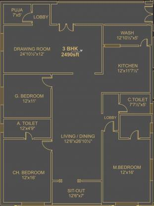 Ista Senor (3BHK+3T (2,490 sq ft)   Pooja Room Apartment 2490 sq ft)