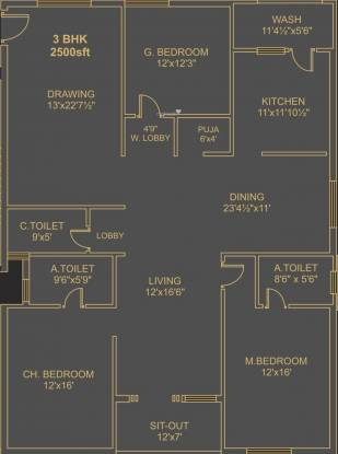 Ista Senor (3BHK+3T (2,500 sq ft)   Pooja Room Apartment 2500 sq ft)