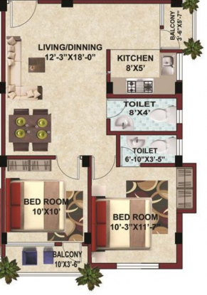SK Builders And Developers Royal Arcade (2BHK+2T (900 sq ft) Apartment 900 sq ft)
