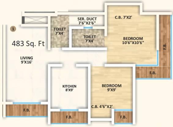 JVM Olive 1 (2BHK+2T (482.98 sq ft) Apartment 482.98 sq ft)