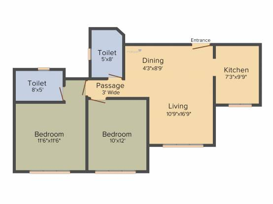 Kukreja Chembur Heights II (2BHK+2T (690 sq ft) Apartment 690 sq ft)
