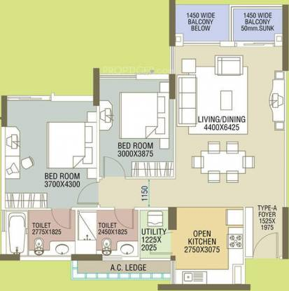 Elita Garden Vista Phase 1 (2BHK+2T (1,350 sq ft) Apartment 1350 sq ft)