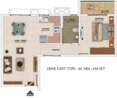 Salarpuria Sattva Park Cubix (1BHK+1T (658 sq ft) Apartment 658 sq ft)