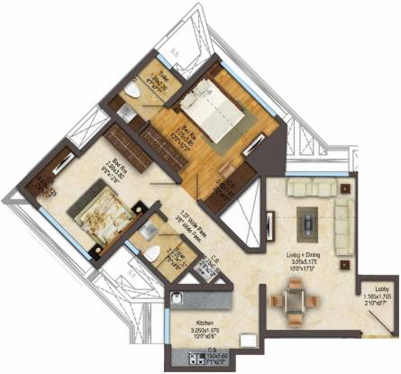 ACME Gingelia Residential (2BHK+2T (616.34 sq ft) Apartment 616.34 sq ft)