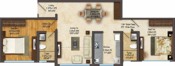 ACME Gingelia Residential (2BHK+2T (675.97 sq ft) Apartment 675.97 sq ft)