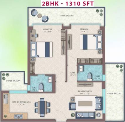 Emerald Heights (2BHK+2T (1,310 sq ft) Apartment 1310 sq ft)