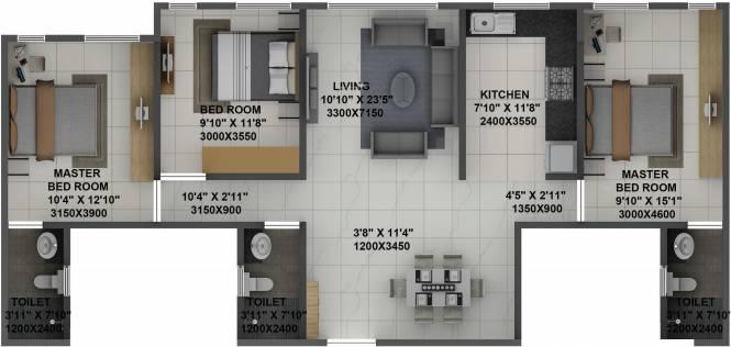 Terraform Dwarka (3BHK+3T (968.32 sq ft) Apartment 968.32 sq ft)