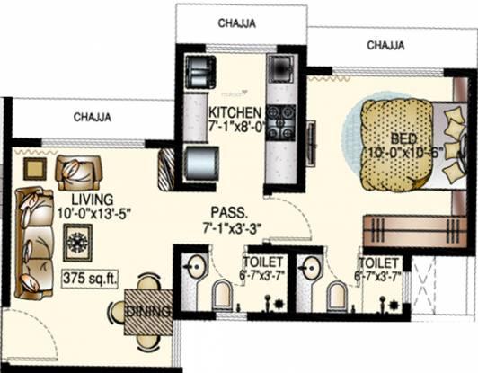 DP Star Trinetra (1BHK+2T (375.12 sq ft) Apartment 375.12 sq ft)