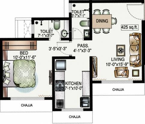DP Star Trinetra (1BHK+2T (425.17 sq ft) Apartment 425.17 sq ft)