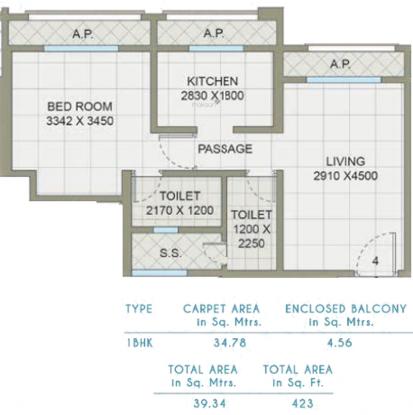 Shree Saibaba Grihanirmiti Neelambari (1BHK+1T (374.37 sq ft) Apartment 374.37 sq ft)