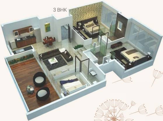 Rohan Leher 2 Wing F G H I J (3BHK+3T (1091.67 sq ft) Apartment 1091.67 sq ft)