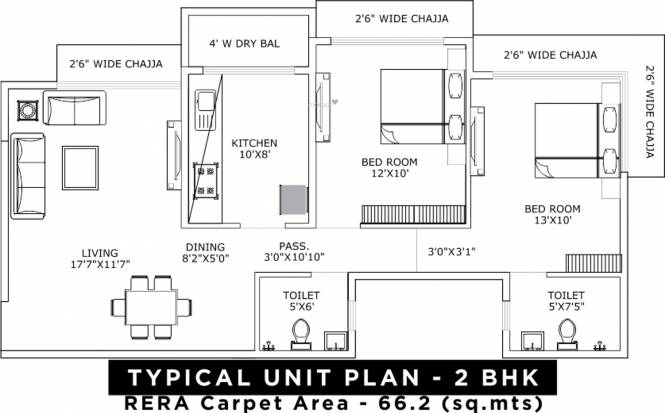 UK Sangfroid (2BHK+2T (712.79 sq ft) Apartment 712.79 sq ft)