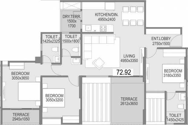 Saarrthi Success Square (3BHK+3T (784.9 sq ft) Apartment 784.9 sq ft)