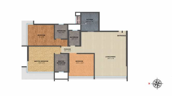 Ahuja Lamor (3BHK+3T (1,251.41 sq ft) Apartment 1251.41 sq ft)