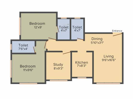 Parinee Essence (3BHK+3T (734.31 sq ft) Apartment 734.31 sq ft)