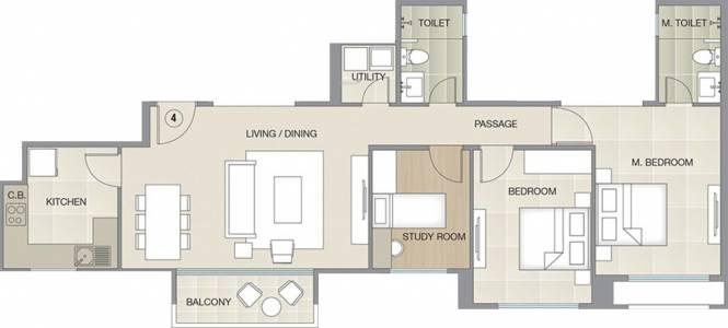 Hiranandani Flamingo (2BHK+2T (934.84 sq ft) + Study Room Apartment 934.84 sq ft)