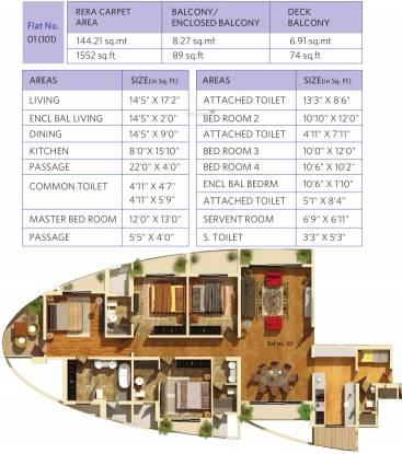 Dosti Imperia Dosti Majesta (4BHK+4T (1,552.26 sq ft) + Servant Room Apartment 1552.26 sq ft)