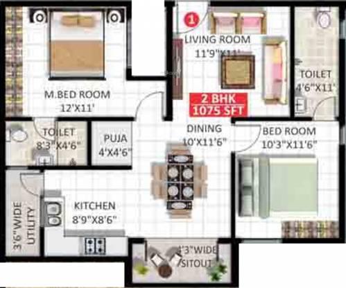 VR Vatika (2BHK+2T (1,075 sq ft) + Pooja Room Apartment 1075 sq ft)