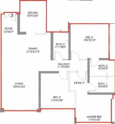 Radius Imperial Heights Wing C And D (3BHK+3T (1,086.40 sq ft) Apartment 1086.4 sq ft)