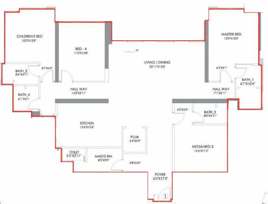 Radius Imperial Heights Wing C And D (4BHK+4T (1,858.82 sq ft) Apartment 1858.82 sq ft)