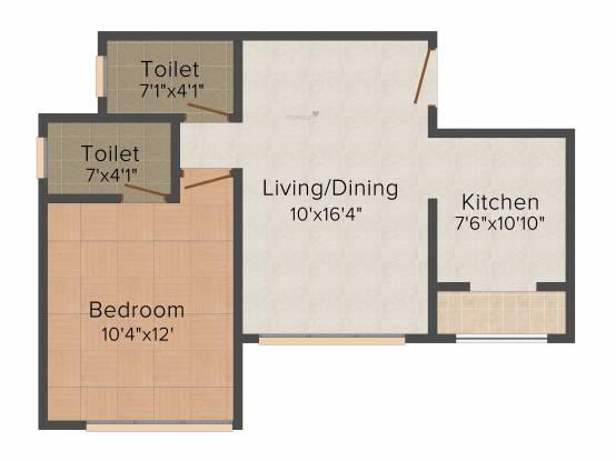 Srishti Harmony III Phase 1 (1BHK+1T (444.01 sq ft) Apartment 444.01 sq ft)
