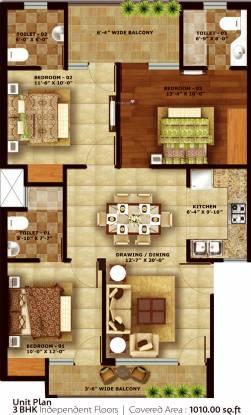 SBP Housing Park (3BHK+3T (1,010 sq ft) Apartment 1010 sq ft)