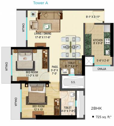 Bhoomi Celestia A Wing (2BHK+2T (725.49 sq ft) Apartment 725.49 sq ft)