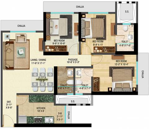 Bhoomi Celestia A Wing (3BHK+3T (886.62 sq ft) Apartment 886.62 sq ft)