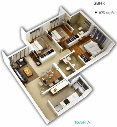 Bhoomi Celestia A Wing (3BHK+3T (873.06 sq ft) Apartment 873.06 sq ft)