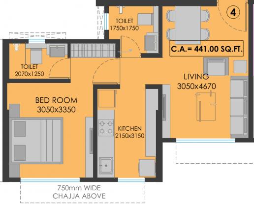 Srishti Pride Phase 1 (1BHK+1T (441.0 sq ft) Apartment 441 sq ft)