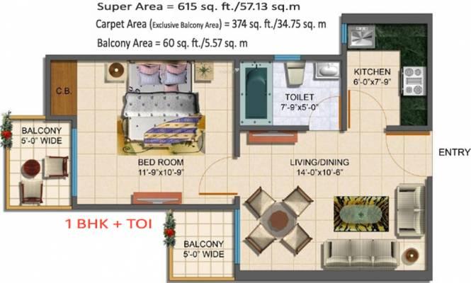Maxblis Grand Wellington (1BHK+1T (374.05 sq ft) Apartment 374.05 sq ft)