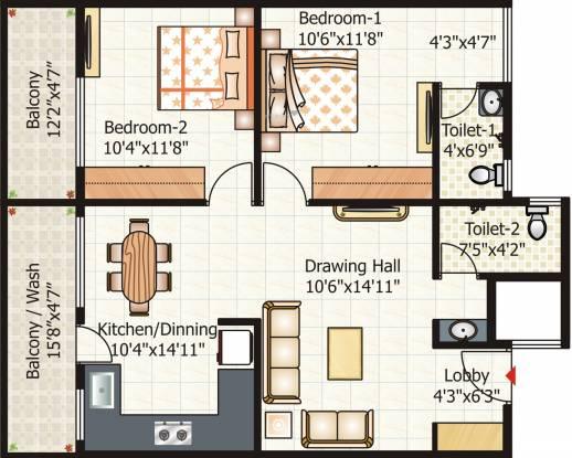 Pyramid City 6  (2BHK+2T (1,102.901 sq ft) Apartment 1102.901 sq ft)