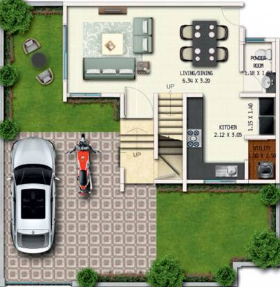 Geras River Of Joy Zone A (2BHK+3T (840.98 sq ft) Villa 840.98 sq ft)