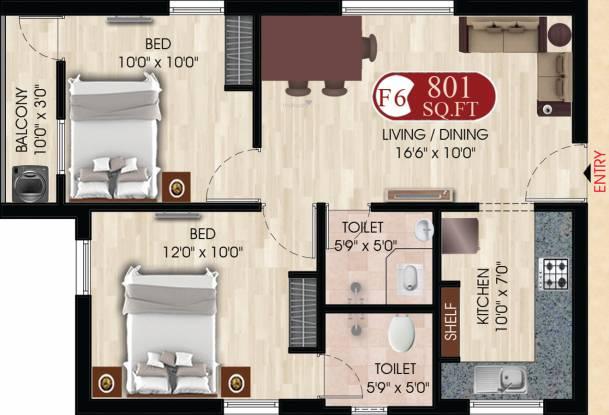 DAC Swastik (2BHK+2T (801 sq ft) Apartment 801 sq ft)