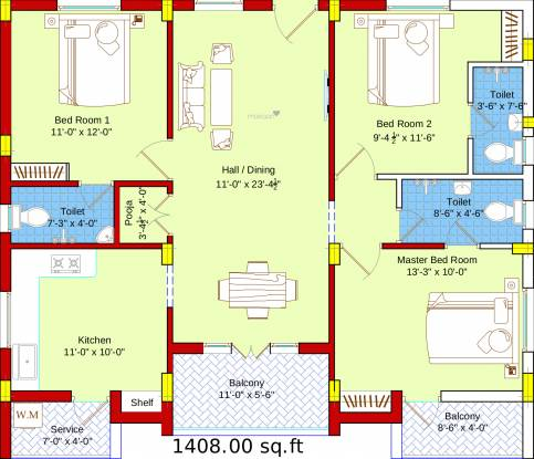 SBA Ayushi (3BHK+3T (1,408 sq ft) + Pooja Room Apartment 1408 sq ft)