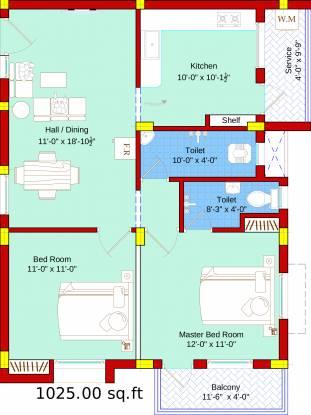 SBA Ayushi (2BHK+2T (1,025 sq ft) Apartment 1025 sq ft)
