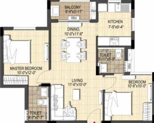 Merlin Belani Eternia (2BHK+2T (914.98 sq ft) Apartment 914.98 sq ft)
