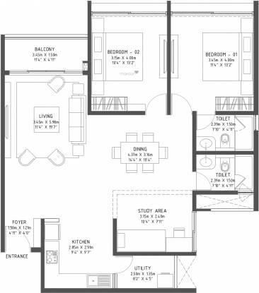 Godrej Reflections (3BHK+3T (1,480 sq ft) Apartment 1480 sq ft)