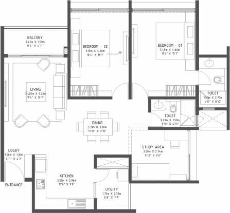 Godrej Reflections (3BHK+3T (1,493 sq ft) Apartment 1493 sq ft)