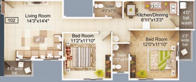Emaarat Shri Ekdant Enclave (2BHK+2T (1,036.97 sq ft) Apartment 1036.97 sq ft)