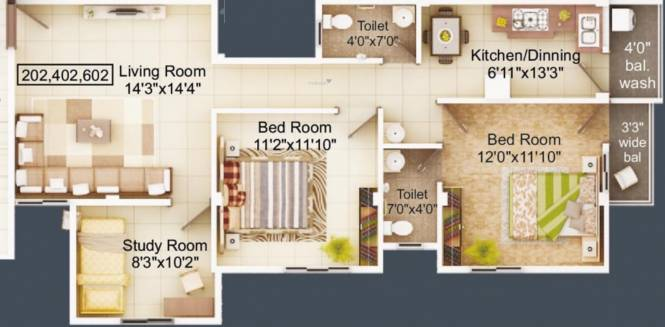 Emaarat Shri Ekdant Enclave (2BHK+2T (1,113.16 sq ft) + Study Room Apartment 1113.16 sq ft)