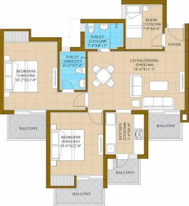 ATS Homekraft Happy Trails (2BHK+2T (1,165 sq ft) + Study Room Apartment 1165 sq ft)