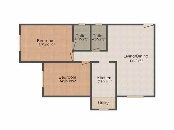 Kaustubh Rajendra Nagar Shree Ganesh Chs Ltd (2BHK+2T (680.06 sq ft) Apartment 680.06 sq ft)